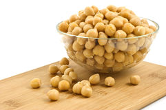 Chick peas in glass dish Royalty Free Stock Images