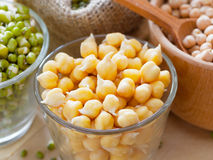 Chick peas and green mung bean sprouts Stock Image
