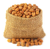 Chick-peas in sack bag Stock Images