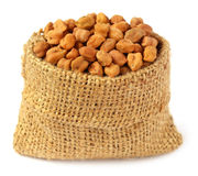 Chick-peas in sack bag Stock Photo