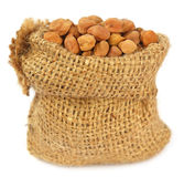 Chick-peas in sack bag Royalty Free Stock Images