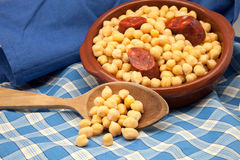 Chick-peas stew with sausage Stock Images