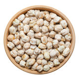 Chick peas in wooden bowl, isolated on white Stock Images