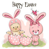 Chick and Rabbit. Cute Cartoon Chick in a Rabbit hat and a Rabbit Royalty Free Stock Photography