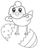 A chick from a shell coloring page Royalty Free Stock Photography
