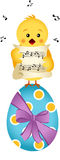 Chick singing on Easter egg Royalty Free Stock Photo