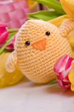 Chick and tulip for easter holidays Stock Image