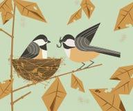 Chickadee ptasia para ilustracja wektor