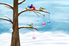 Chickadees celebrate Christmas Royalty Free Stock Image