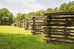 Split-Rail Fence. An old split rail fence in the Chickamauga Battlefield Royalty Free Stock Photography