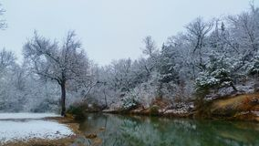 Chickasaw national recreation area. Fresh Snow at panther falls Stock Photography