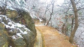 Chickasaw national recreation area. Snow covered trail Royalty Free Stock Photo