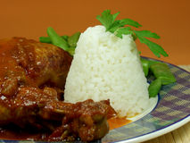 Chicken. Whit tomato sauce and cooked rice served whit green beans Royalty Free Stock Photography