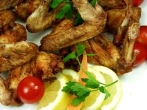 Chicken. Fried chicken wings whit salad royalty free stock photo