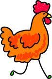 Chicken. A simple farm chicken drawn in toddler art style Royalty Free Stock Photo
