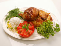 Chicken. Grilled chicken with rice and vegetables Royalty Free Stock Photography