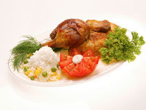 Chicken. Grilled chicken with rice and vegetables Royalty Free Stock Photo