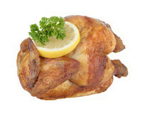 Chicken. Fresh grilled roasted chicken isolated on white background Stock Photos