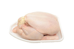 Chicken. Photograph of a chicken ready to cook shot in studio against a white background Royalty Free Stock Photo