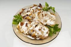 Chicken. Fried chicken fillet with cream sauce Stock Photos