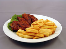Chicken. Wings & Fries Stock Images