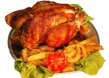 Chicken. Roast chicken royalty free stock photo