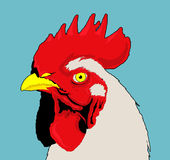 Chicken. Illustration with blue background and black lines stock illustration
