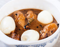 Chicken adobo with eggs Royalty Free Stock Photos