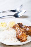 Chicken adobo with eggs Stock Photos
