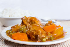 Chicken afritada with bowl of rice closeup Stock Image