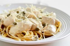 Chicken alfredo close up Stock Photo