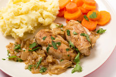 Chicken in almond sauce dinner Royalty Free Stock Image