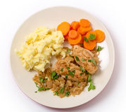 Chicken in almond sauce meal from above Royalty Free Stock Photo