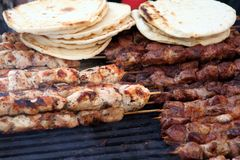 Chicken And Beef Kabobs Stock Images