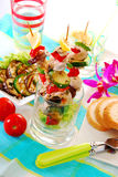 Chicken And Vegetable Skewers Served In Glass Stock Photos
