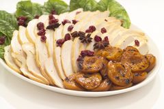 Chicken and apricot platter. A chicken and apricot platter for a families table Stock Photo
