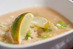 Chicken Arroz Caldo soup. Chicken Arroz Caldo rice soup in a white bowl. Great to eat for cold seasons like winter or fall Stock Photo
