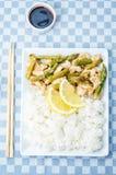 Chicken asparagus lemon stir fry Royalty Free Stock Photo