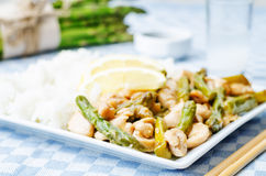 Chicken asparagus lemon stir fry Royalty Free Stock Image