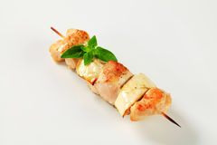 Chicken and aubergine skewer Stock Images