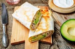 Chicken avocado burritos royalty free stock images