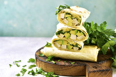 Chicken avocado burritos. Royalty Free Stock Photos