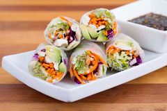 Chicken and avocado rice paper spring rolls Royalty Free Stock Images