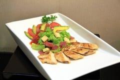 Chicken avocado salad. Delicious chicken avocado salad food Royalty Free Stock Photos