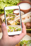 Chicken, avocado and vegetables burrito. Royalty Free Stock Photo