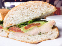 Chicken Avocado with Wasabi Sandwiches cafe Stock Image