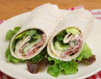 Chicken & Bacon Caesar Wrap Sandwich Royalty Free Stock Photography