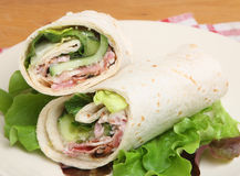 Chicken & Bacon Caesar Wrap Sandwich Royalty Free Stock Photography