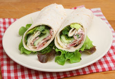 Chicken & Bacon Caesar Wrap Sandwich Royalty Free Stock Images