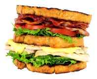 Chicken And Bacon Double Decker Sandwich. Isolated on a white background Royalty Free Stock Photography